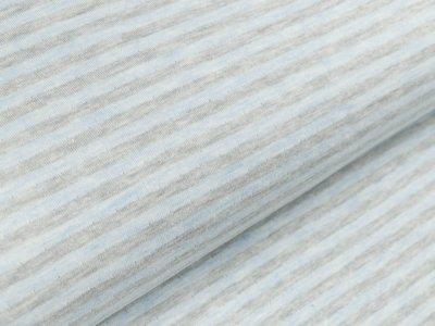 Jacquard Interlock Double Face Stenzo - Streifen - meliert grau/blau