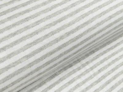 Jacquard Interlock Double Face Stenzo - Streifen - meliert grau/weiß