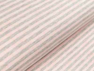 Jacquard Interlock Double Face Stenzo - Streifen - meliert grau/rosa