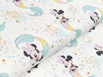 Disney-Gewebter Baumwollstoff Stenzo - Micky Mouse -  Minnie als Meerjungfrau - creme