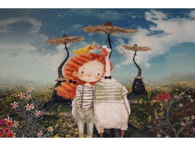 Jersey Digitaldruck Stenzo PANEL ca. 120 x 150 cm - kleines Mädchen mit verschiedenen Tieren auf einer Blumenwiese- türkis/braun