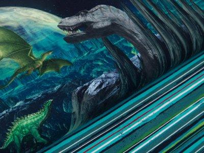 Sweat French Terry Digitaldruck Stenzo Fantasy Dino PANEL ca. 75 cm x 150 cm - brüllende Dinos - blau