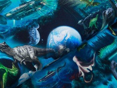 Sweat French Terry Digitaldruck Stenzo Fantasy Dino - brüllende Dinos - blau