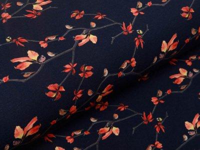 Jersey Digitaldruck Stenzo All the Animals in the Forest - Vögelchen auf Herbstzweigen - schwarz