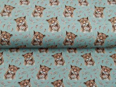 Sweat French Terry Digitaldruck Stenzo Mouse - Leopardenfamilie - altmint