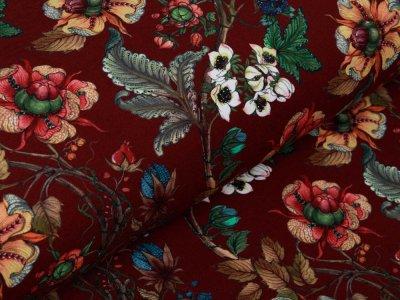 Sweat French Terry Digitaldruck Stenzo The Flower Garden - Herbstzweige und Blüten - rotbraun