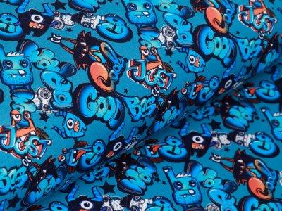 Sweat French Terry Digitaldruck Stenzo Good Cool Skateboarding - freche Monster und Schriftzüge - indigoblau