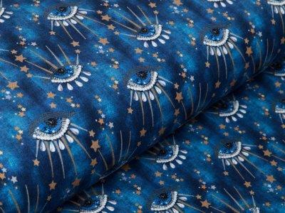 Sweat French Terry Digitaldruck Stenzo - tränende Augen - jeansblau