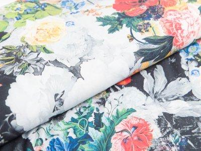 Viskose Digitaldruck - Rosella by Penelope - Blumenwiese - schwarz