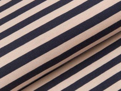 Jersey Swafing Isa - schmale Streifen - puderrosa/dunkles blau