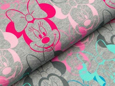 Disney-Angerauter Sweat Swafing - Minnie Mouse -  meliert grau