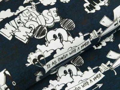 Disney-Angerauter Sweat Swafing - Micky Mouse und Propellerflugzeug - dunkles blau