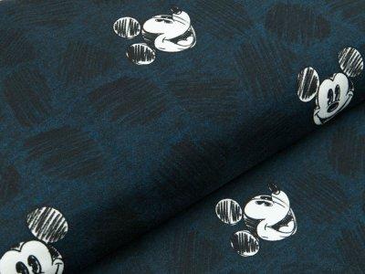 Disney-Angerauter Sweat Swafing - Micky Mouse und Kritzelkreise - meliert dunkles blau