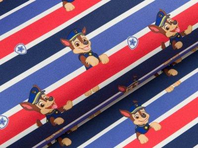 Jackenstoff Softshell Swafing Paw Patrol - Chase auf Streifen - blau/rot