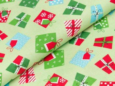 Gewebter Baumwollstoff Swafing Woodland Friends Christmas - Patchwork - Weihnachtsgeschenke - mint