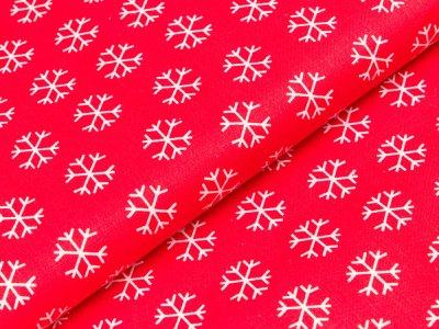 Gewebter Baumwollstoff Swafing Woodland Friends Christmas - Patchwork - Eiskristalle - rot