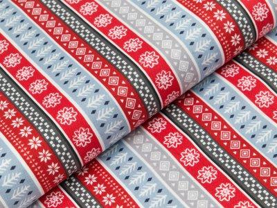 Gewebter Baumwollstoff Swafing Snow Delightful - Patchwork - Weihnachtliche Muster - rot/blau