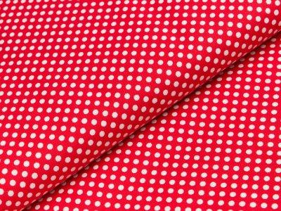 Gewebter Baumwollstoff Swafing Seasons Greetings - Patchwork - unregelmäßige Punkte - rot/weiß