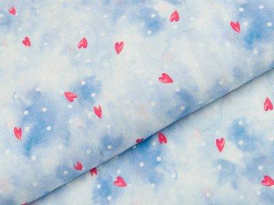 Viskose Webware Swafing Mila - Herzen und Punkte auf Batik - blau