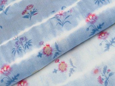 Viskose Webware Swafing Mila - verschiedene Blumen auf Batik - blau