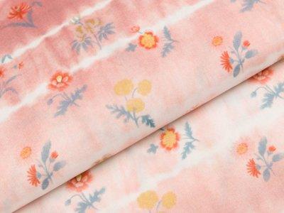Viskose Webware Swafing Mila - verschiedene Blumen auf Batik - rosa