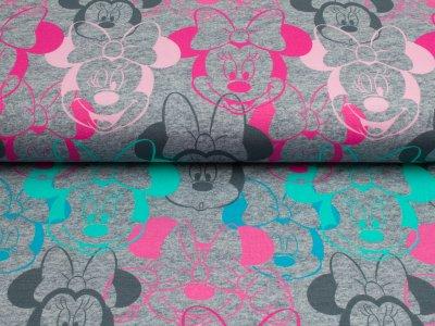 Jersey Swafing Walt Disney Minnie Mouse Gesichter grau-meliert