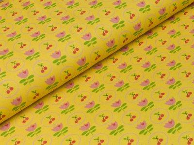Jersey Swafing - Jana - Kirschen im Kreis und Tulpen gelb
