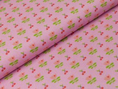Jersey Swafing - Jana - Kirschen im Kreis und Tulpen rosa