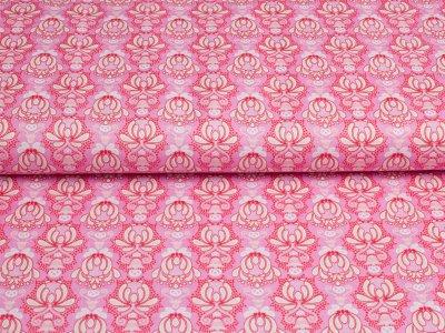 """Gew. Baumwollstoff by Jolijou """"Vienna"""" Blüten Ornament pink"""