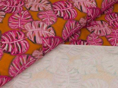 Modal-Jersey Swafing - Mondial Boheme - Monstera - by Cherry Picking - orange/rosa