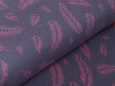 Jersey Jacquard Swafing Winter Stories Twigs by lycklig design - Herbstblätter - grau/pink