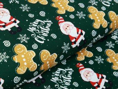 Sweat French Terry Swafing Toronto - Weihnachtsmänner und Lebkuchenfiguren - tannengrün