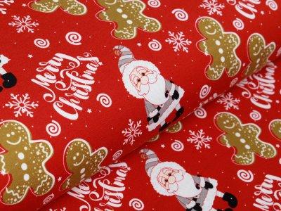 Sweat French Terry Swafing Toronto - Weihnachtsmänner und Lebkuchenfiguren - rot