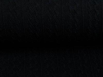 Struktur-Strickstoff Swafing Carmen - Zopfmuster - uni schwarz