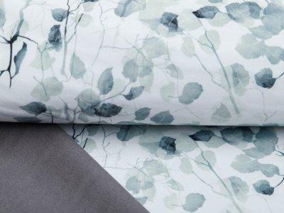 Stretch-NANO-Softshell Jackenstoff Swafing Robin - edle Eukalyptus-Blätter - wollweiß