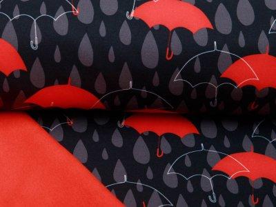 Stretch-NANO-Softshell Jackenstoff Swafing Robin - Regenschirme und Regentropfen - schwarz