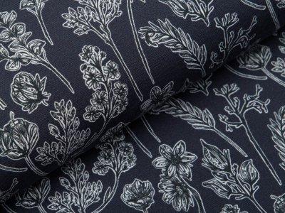 Sweat French Terry Modal Swafing Herbarium by Lilla-Lotta - herbstliche Zweige - anthrazit