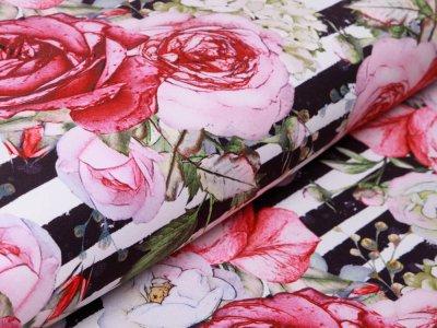 Softshell Jackenstoff  Swafing Fiete - Rosen auf Streifen - wollweiß