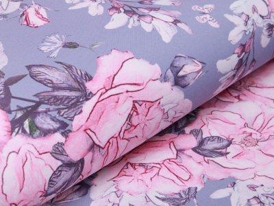 Softshell Jackenstoff  Swafing Fiete -  Wildrosen und Schmetterlinge - grau