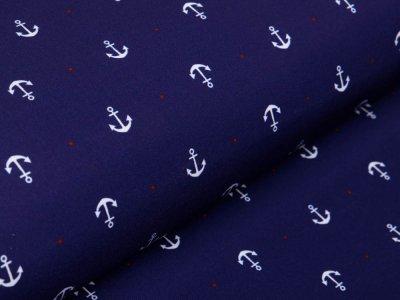 Softshell Jackenstoff  Swafing Fiete - Anker und Punkte - dunkles blau