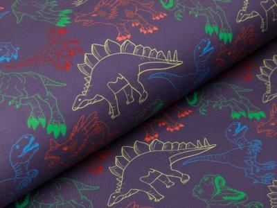 Softshell Jackenstoff  Swafing Fiete - Dinosaurier - grau