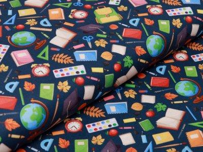 Webware Baumwolle Swafing Kim - verschiedene Schulsachen - dunkles petrol