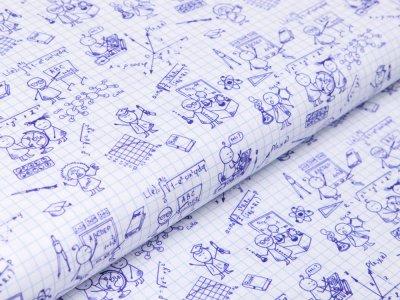Webware Baumwolle Swafing Kim - gezeichneter Schulunterricht auf Karos - weiß