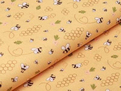 Webware Baumwolle Swafing Kim - Bienen und Waben - sonnengelb