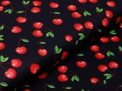 Webware Baumwolle Swafing Kim - fruchtige Kirschen - schwarz