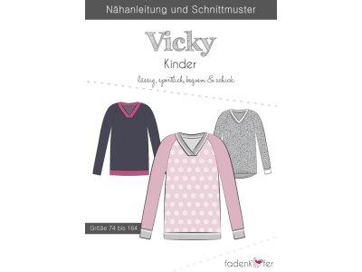 Papier-Schnittmuster Fadenkäfer - Pullover Vicky - Kinder