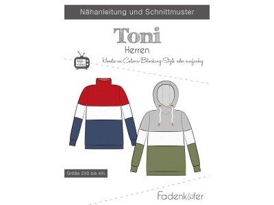 Papier-Schnittmuster Fadenkäfer - Hoodie TONI - Herren