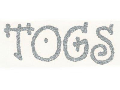 "Transfer Bügelbild ""TOGS"" silber-glitzer"