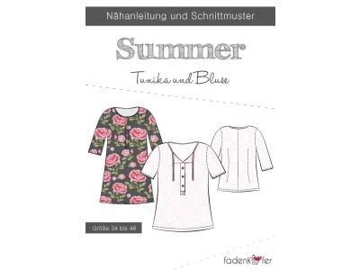 Papier-Schnittmuster Fadenkäfer Summer Tunika o. Bluse Damen