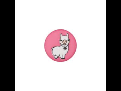Knopf mit Öse 15mm - Lama - pink